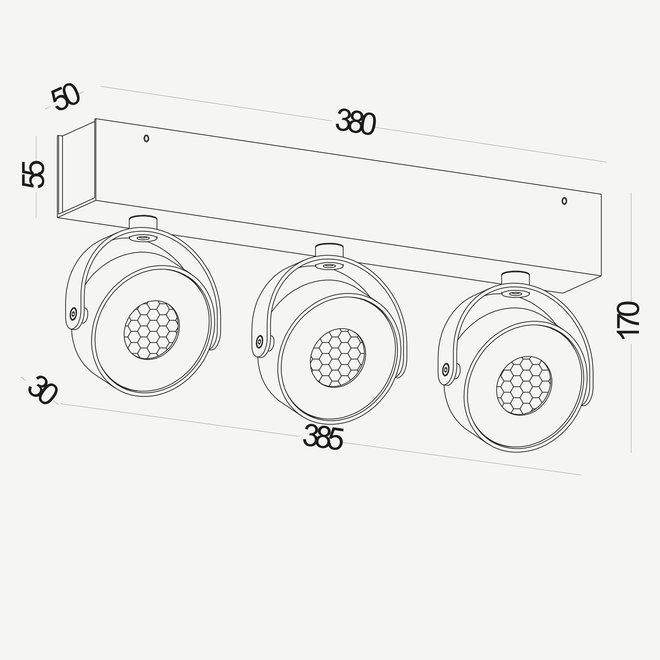 Wand- / Plafondspot BRANDON LED Ø 105 mm 3 dubbel - zwart