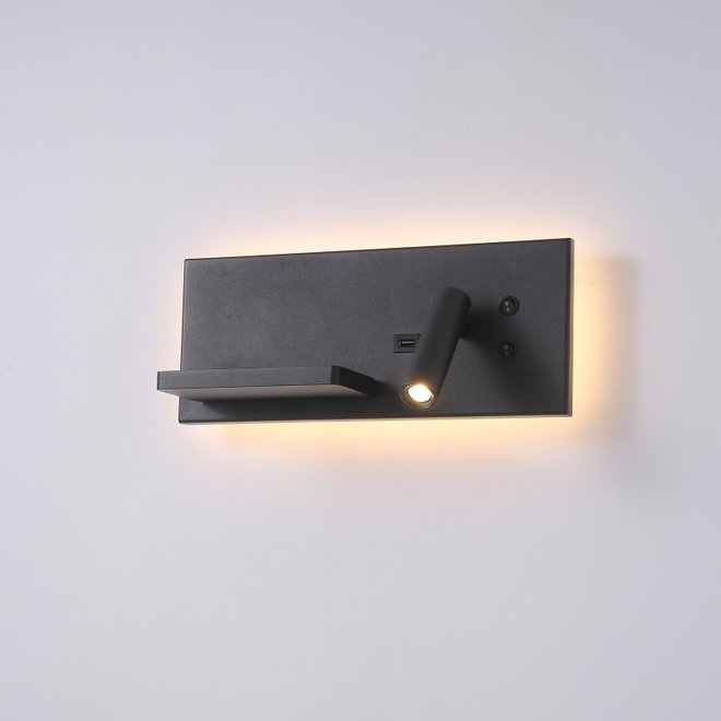 CORA leeslamp met nachtverlichting en USB-aansluiting - zwart
