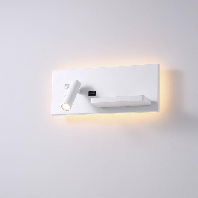 CORA leeslamp met nachtverlichting en USB-aansluiting - wit