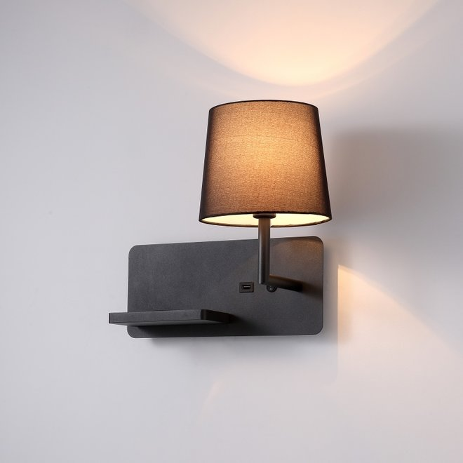 CORA wall lamp with  USB connection - black