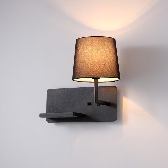 CORA wandlamp met USB-aansluiting - zwart