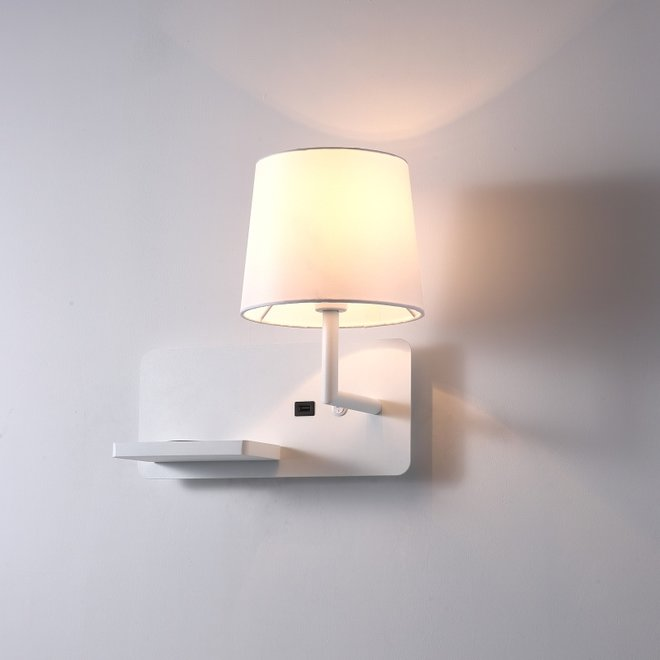 CORA wall lamp with  USB connection - white