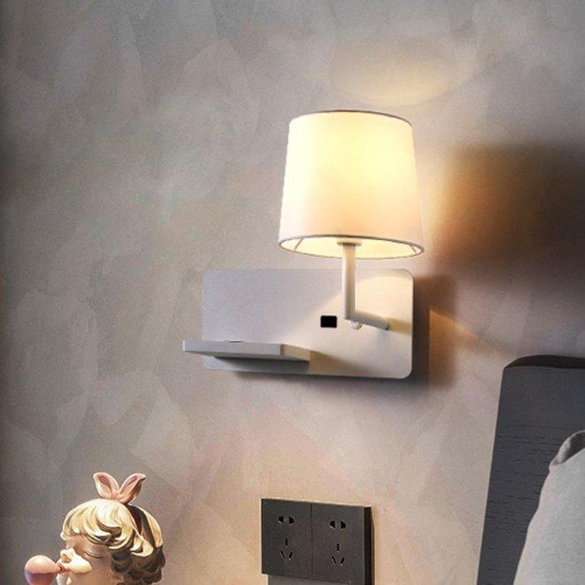CORA wandlamp met USB-aansluiting - wit