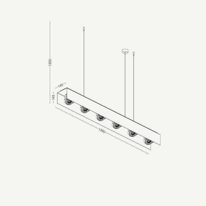 Moderne LED hanglamp HYDE groot 1350 mm - zwart