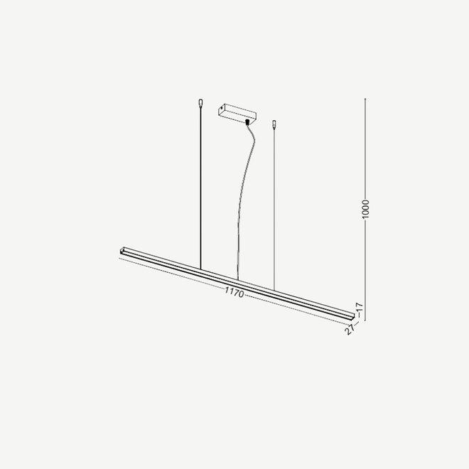Moderne LED hanglamp Linear Slim 1170 mm - zwart