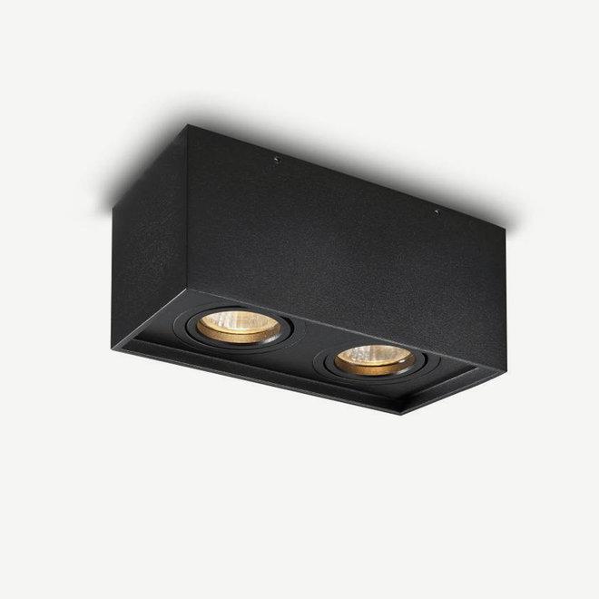 Design plafondspot BOXX zwart dubbel GU10