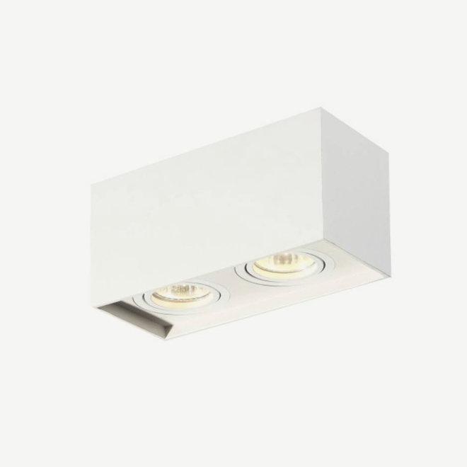 Design plafondspot BOXX wit dubbel GU10
