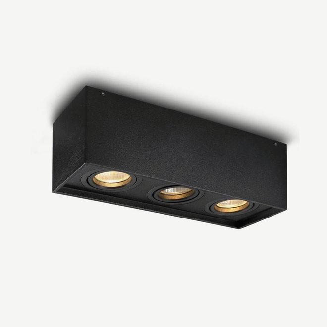 Design plafondspot BOXX zwart driedubbel GU10
