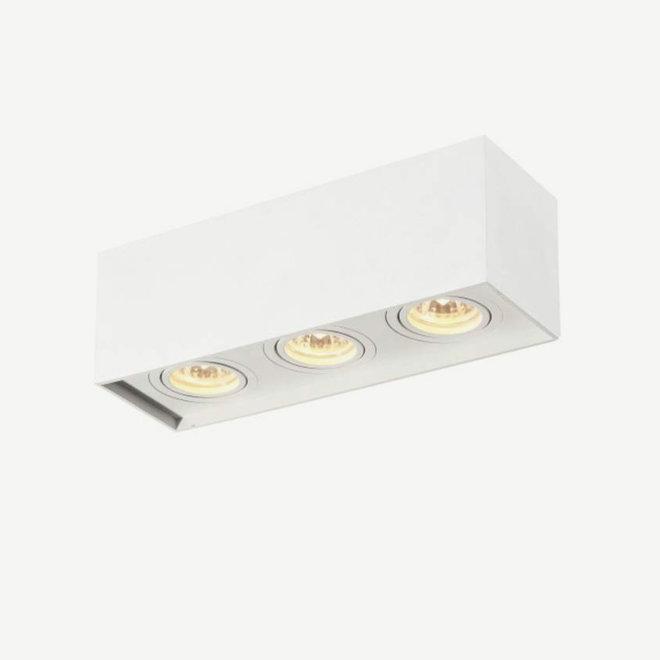 Design plafondspot BOXX wit driedubbel GU10