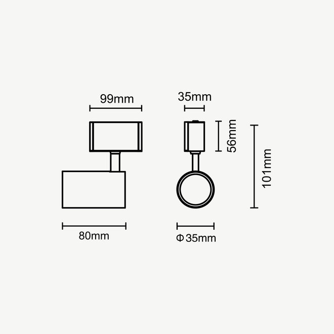 CLIXX CURVE magnetisch rail verlichtingssysteem - SPOT35 LED module  - zwart