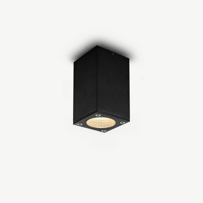 vierkanten LED buiten plafondlamp BOXX klein zwart