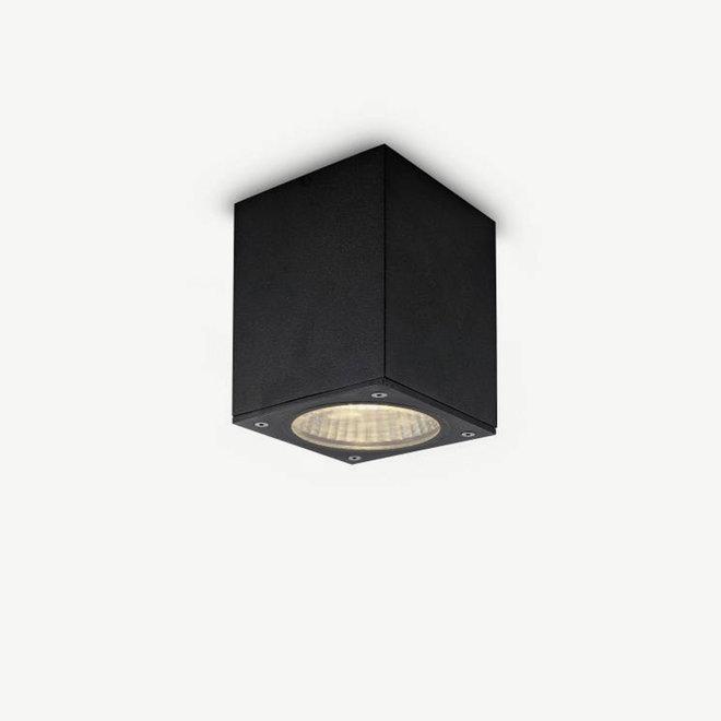 Square LED outdoor ceiling lamp BOXX medium black
