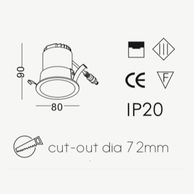 LED recessed spot COB 5 W black