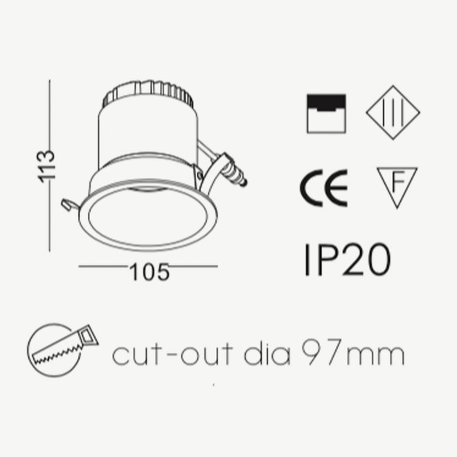 LED Inbouwspot COB 9 W zwart