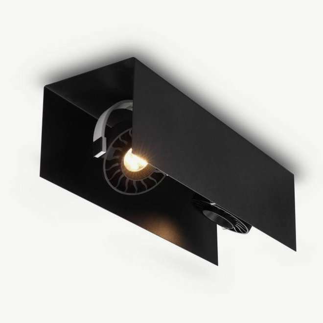 Moderne LED plafondlamp HYDE klein 430 mm zwart