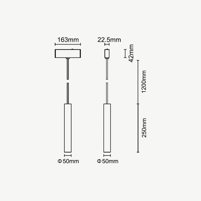 CLIXX SLIM magnetisch rail verlichtingssysteem - TUUB Hanglamp 50 LED module - goud