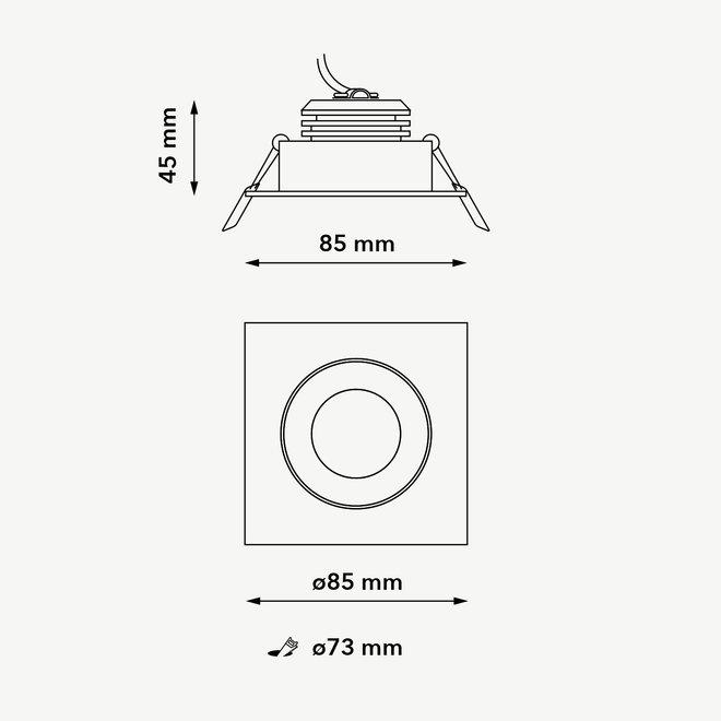 Recessed LED ceiling spot FLEXX tiltable square - black
