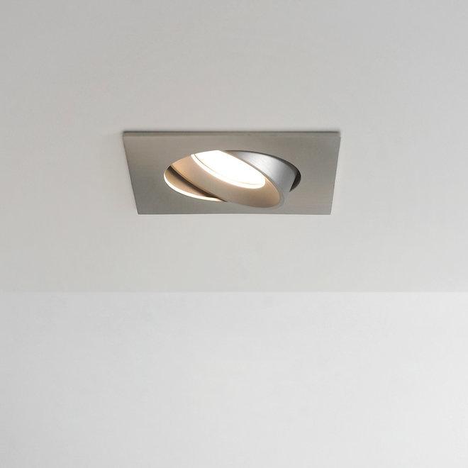 Recessed LED ceiling spot FLEXX tiltable square - inox