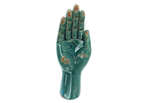 Fine Asianliving Open Hand Holder Decoration Vintage Turquoise Ceramic