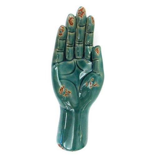 Open Hand Houder Schaal Decoratie Vintage Blauw Keramiek
