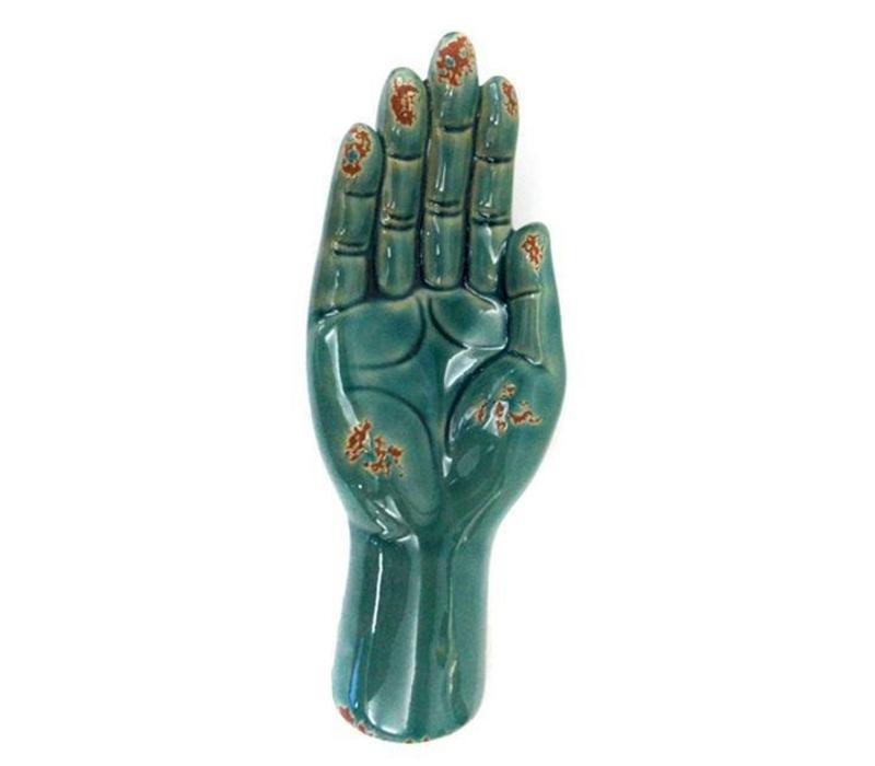 Open Hand Holder Decoration Vintage Turquoise Ceramic