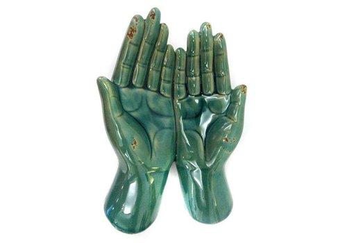 Fine Asianliving Open Hand Houder Schaal Decoratie Vintage Blauw Keramiek