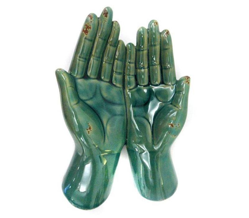 Open Two Hands Holder Decoration Vintage Blue Ceramic