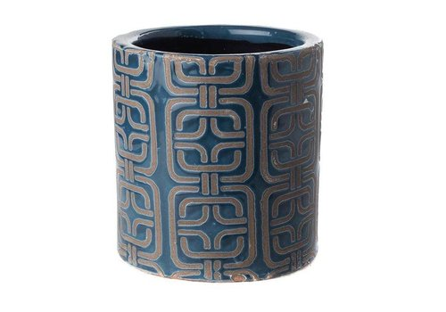 Fine Asianliving Pot Round Dark Blue 1980 Style