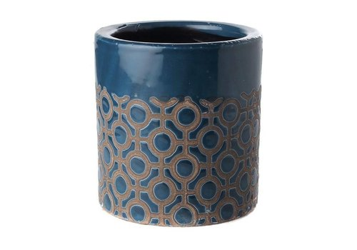 Fine Asianliving Pot Rond Donkerblauw Dots