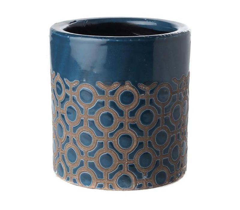 Pot Round Dark Blue Dots