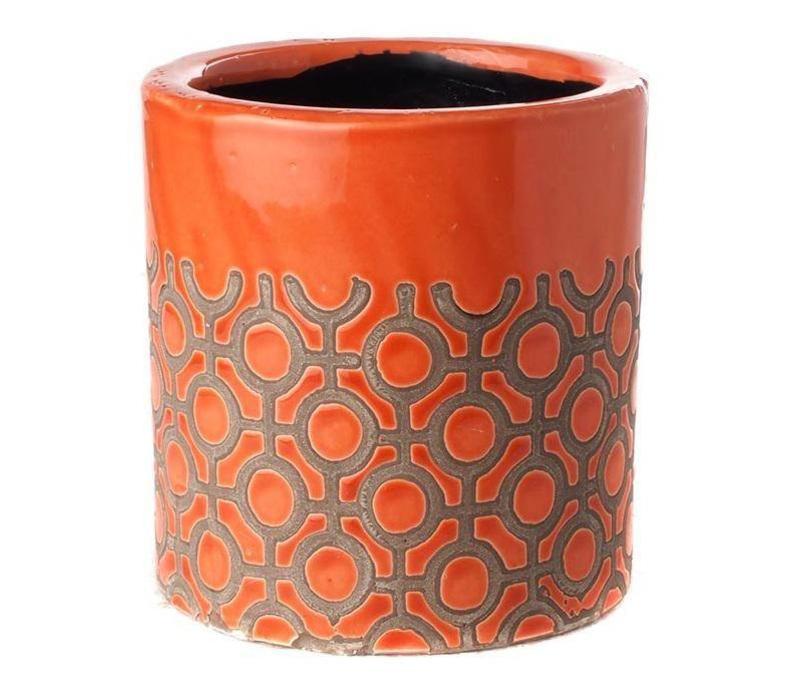Pot Rond Orange Dots