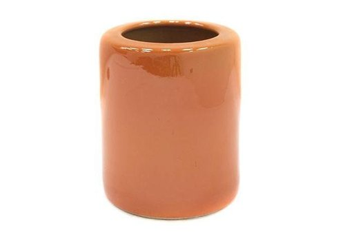 Fine Asianliving Chinese Calligraphy Pencil Holder Orange Porcelain