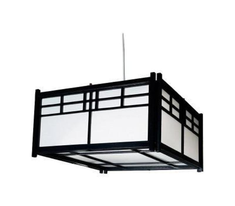 Japanse Plafondlamp Rijstpapier Shoji Hout Ishikawa Zwart