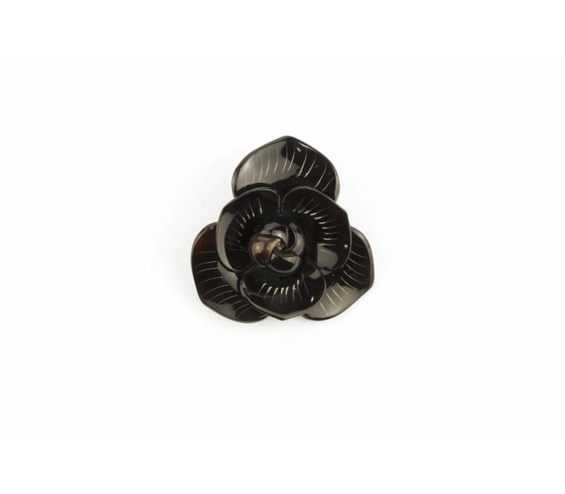 Broche Hoorn Flower Black