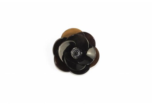 Fine Asianliving Pin Buffalo Horn Flower Black