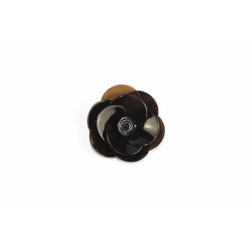 Pin Buffalo Horn Flower Black