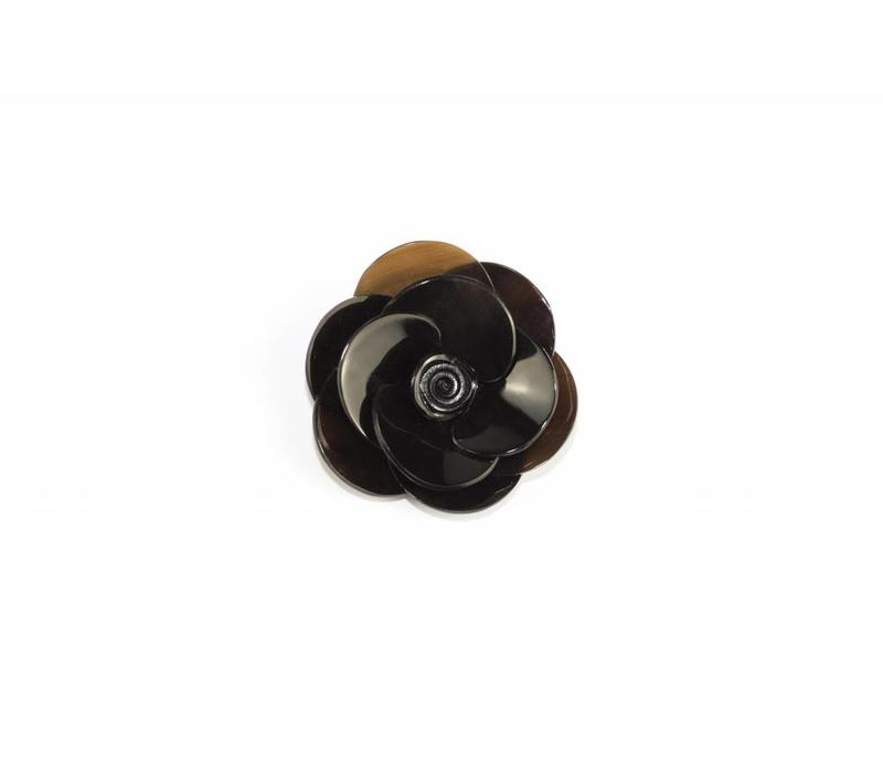 Pin Buffalo Horn Flower Black