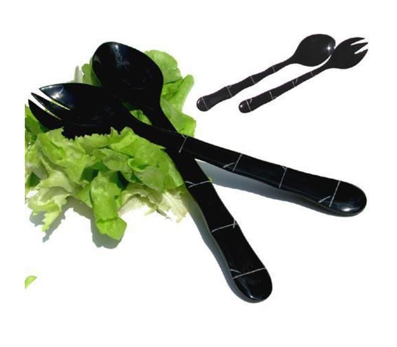 Vietnamese Salade Schep Set Buffelhoorn Zwart met Bamboe Design