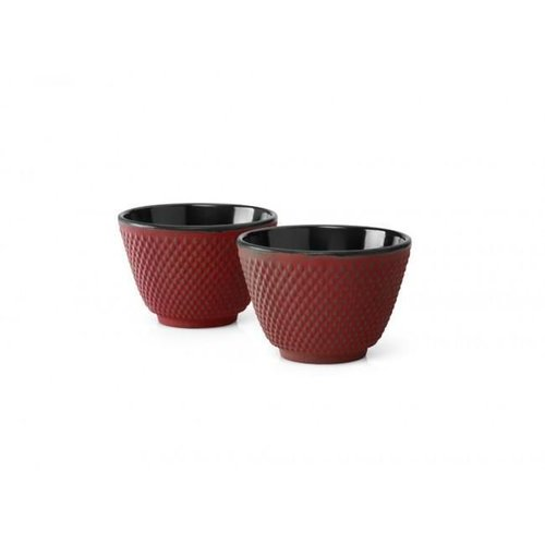 Cast iron red teacups S/2 Xilin