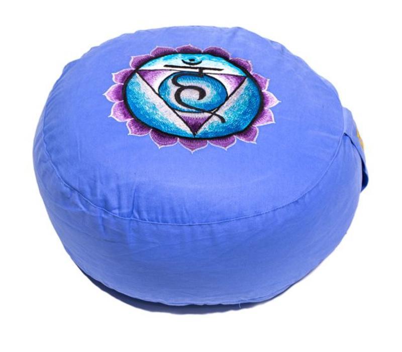 Ronde Meditatiekussen Zaifu Chakra Blauw 33 cm