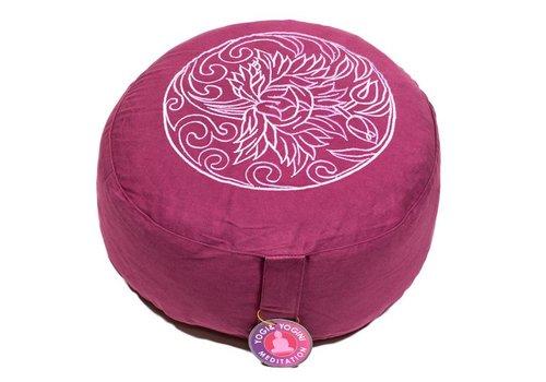 Fine Asianliving Meditatiekussen paars met lotusbloem