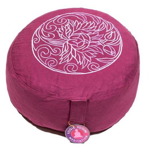 Meditatiekussen paars met lotusbloem