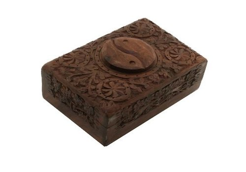 Fine Asianliving Jewelry box Storage box Yin and Yang Wood carving