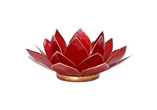 Fine Asianliving Candle holder open lotusflower ruby red