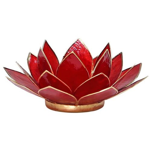 Candle holder open lotusflower ruby red