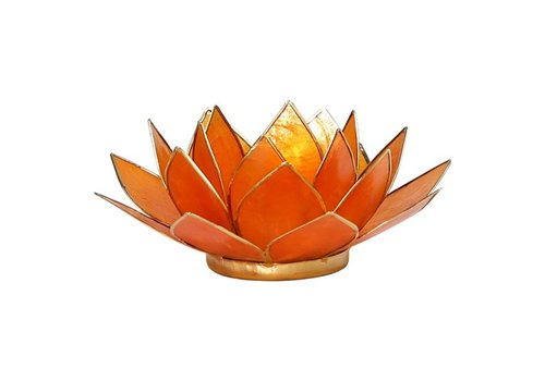 Fine Asianliving Candle holder open lotusflower amber