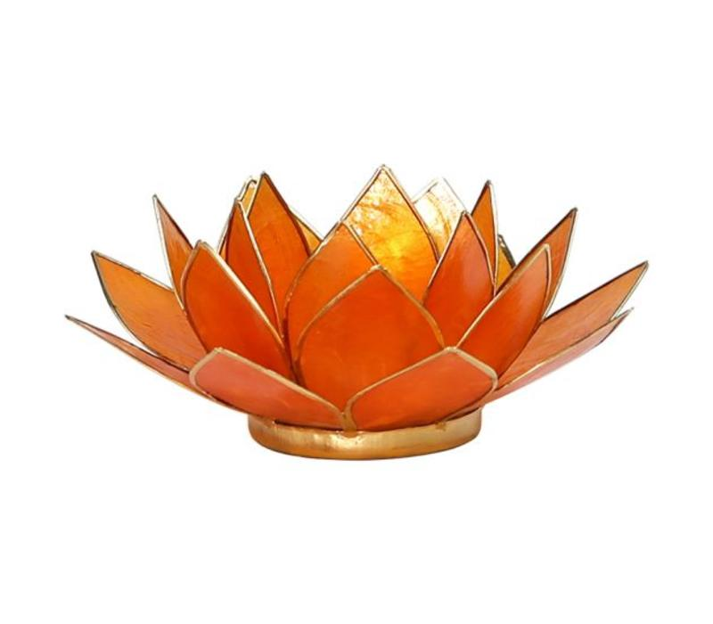 Candle holder open lotusflower amber