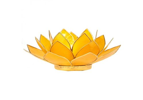 Fine Asianliving Candle holder open lotusflower yellow