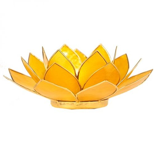 Candle holder open lotusflower yellow