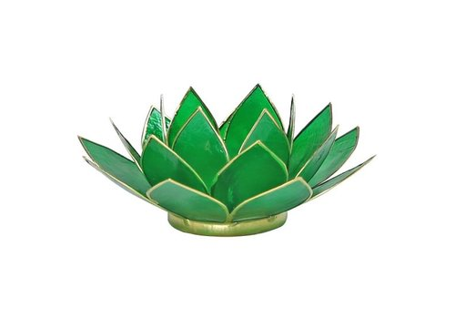 Fine Asianliving Candle holder open lotusflower emerald Green